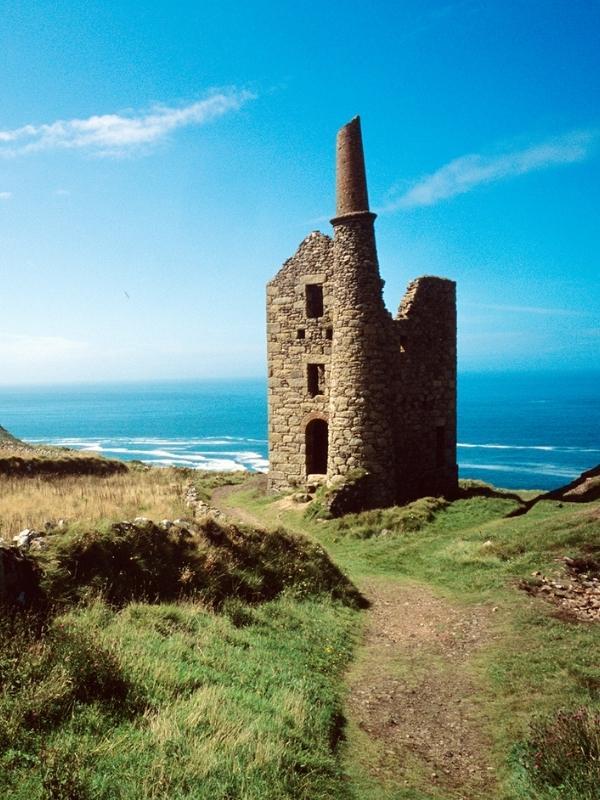Abandoned tin mines Penwith Coastline in Cornwall