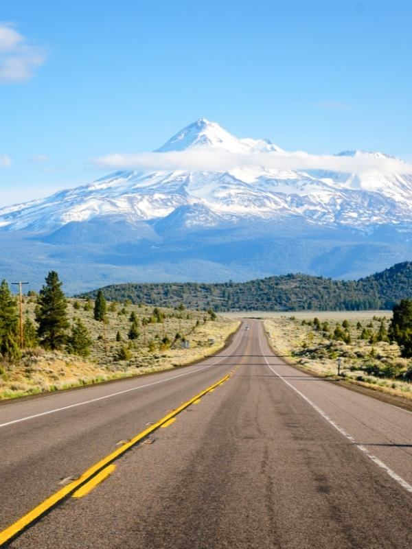 Mount Shasta with snow covering the peak.