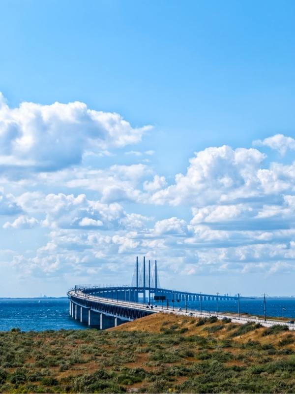 Oresund Bridge Denmark to Sweden appears in some nordic noir Netflix series.