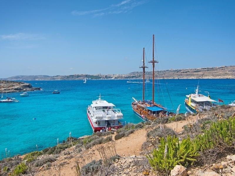 Boats moored off the Blue Lagoon in Malta.