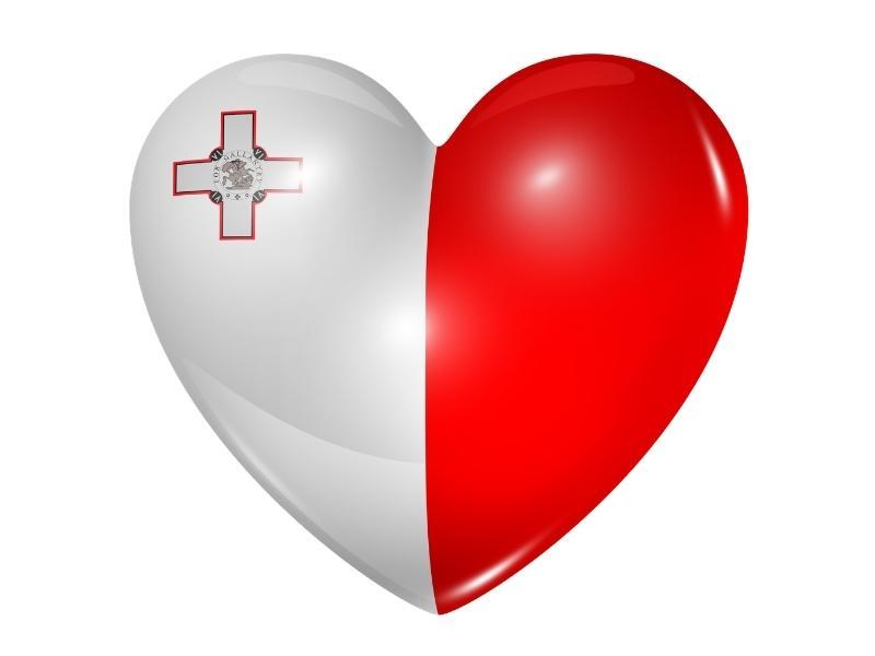 Maltese flag in a heart.