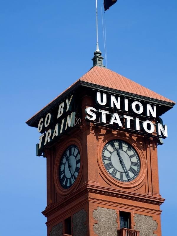 Portland train station sign.