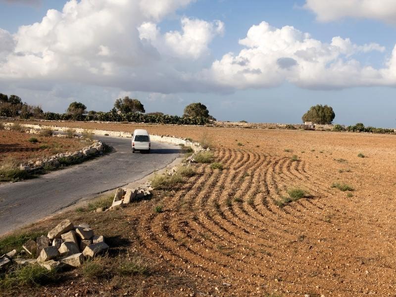 Rural road in Malta.