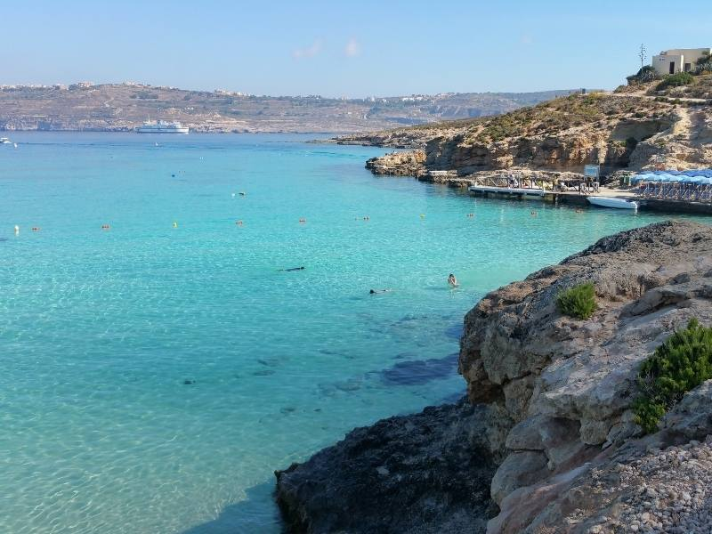 The blue waters of Comino in Malta.