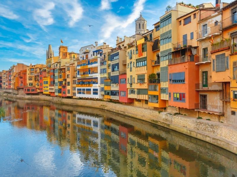 Colourful houses in Catalonia.