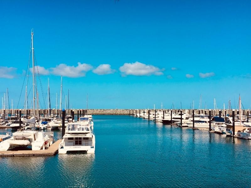 Boats moored in Mackay Harbour.