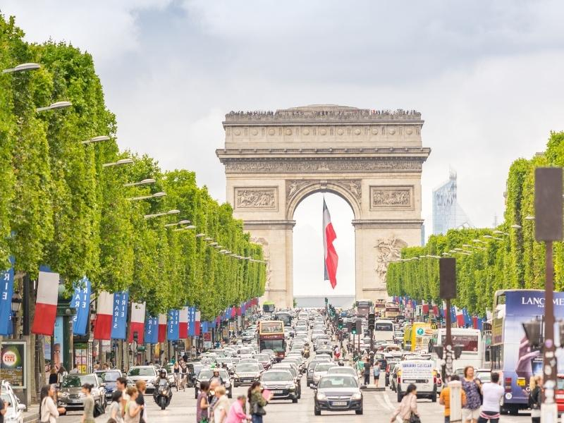 Champs Elysee and the Arc de Triumph in Paris France.
