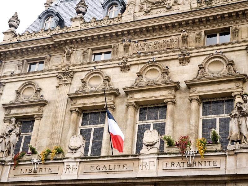 Liberte Egalite and Fraternite sign in Paris France.