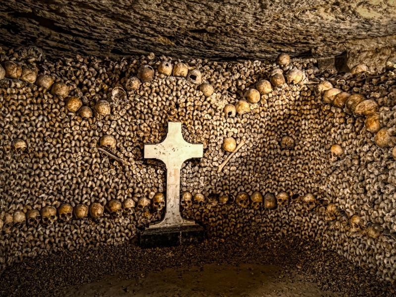 Paris Catacombs in Paris France.