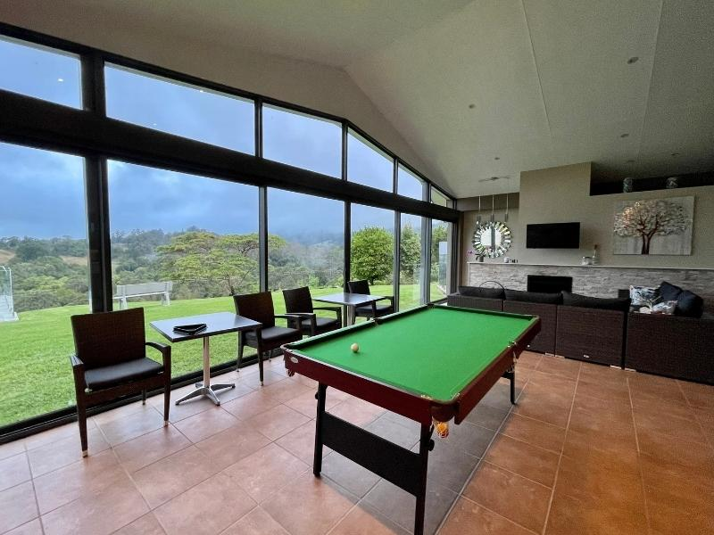 Lounge room with pool table at Mapleton Springs B&B in the Sunshine Coast HInterland Queensland.