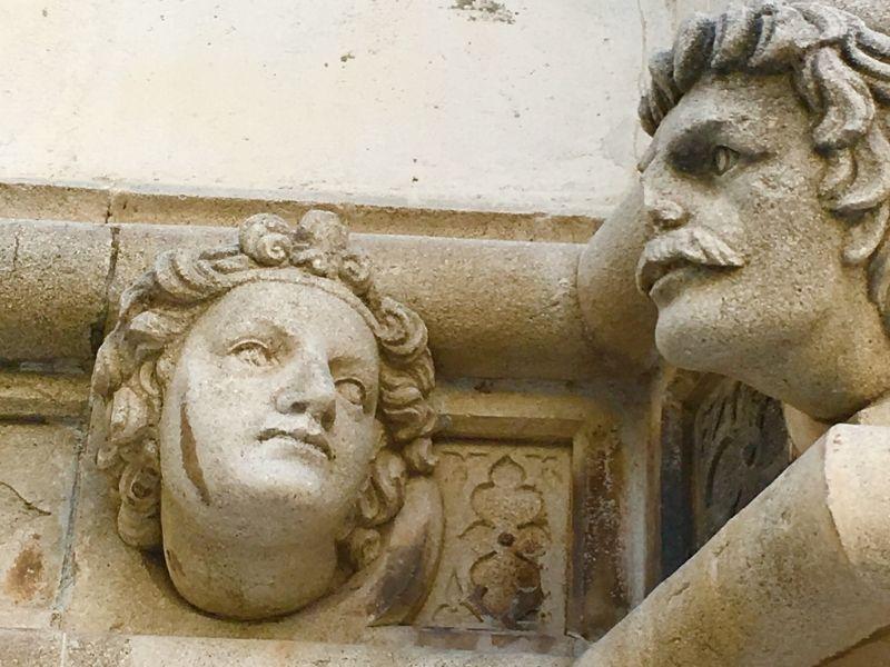 the stonework on the cathedral at Sibenik in Croatia - visiting Trogir and Sibenik