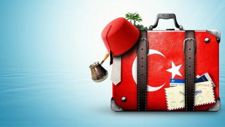 Suitcase with Turkish flag